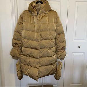 Zara Puffer Down Coat Tan/Gold with mittens XS